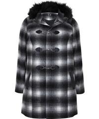 VITALITY Černobílý kostkovaný kabát s kapucí