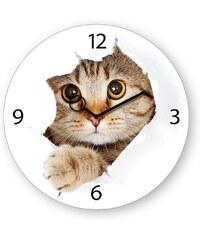 Wanduhr aus Glas, Eurographics, »Come Kitty!«, 30/30 cm