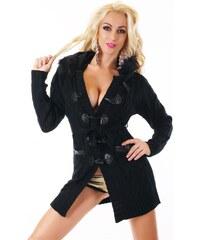 LM moda Dlouhý svetr s kožešinou černý ST156