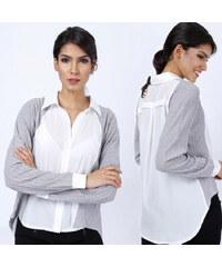 Lesara Oversize-Bluse mit Strickärmeln - L
