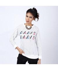 Lesara Pullover mit Nadelstreifen Weiß - Weiß - S
