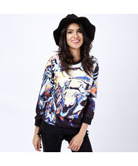 Lesara Pullover mit buntem All-Over-Print - Schwarz - S