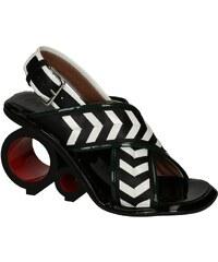 Sandales Marni talon circulaire en cuir noir/blanc