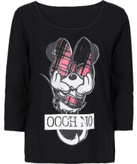 Disney T-shirt Mickey Mouse noir manches mi-longues femme - bonprix