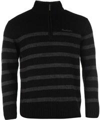 Svetr pánský Pierre Cardin Quarter Zip Striped Black/Char M