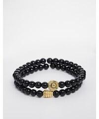Love Bullets Lovebullets - Lot de 2 bracelets à petites perles d'onyx - Noir