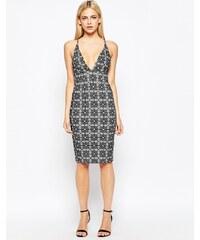 Oh My Love - Figurbetontes Kleid mit tiefem Auschnitt vorne - Mehrfarbig
