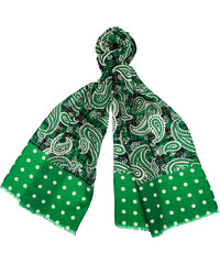 Made in Italy Luxusní vlněná šála - zelená paisley