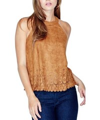 Guess Halenka Xolani Faux-Suede Perforated Top