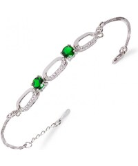 Meucci Stříbrný náramek se smaragdy a třemi oválky
