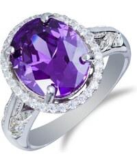 Meucci Luxusní stříbrný prsten s velkým ametystem a zirkony.