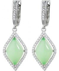 Meucci Stříbrné visací náušnice se smaragdy a zirkony
