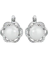 Meucci Stříbrné náušnice s přírodní perlou v kytičce se zirkony