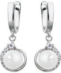 Meucci Stříbrné visací náušnice s perlou a zirkony