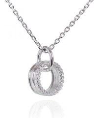 Meucci Stříbrný náhrdelník s kolečkem a zirkony