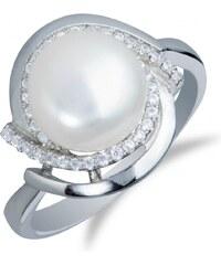 Meucci Stylový stříbrný prsten s perlou a zirkony