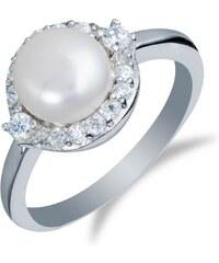 Meucci Stříbrný prsten s perlou a zirkony