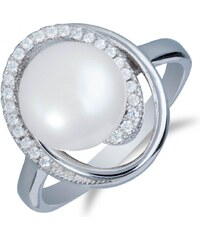 Meucci Masivní stříbrný prsten s perlou a zirkony