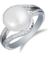 Meucci Stříbrný rhodiovaný prsten s perlou a zirkony