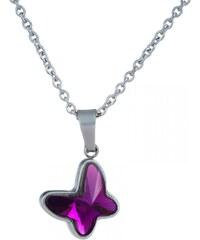 Meucci Ocelový náhrdelník s fialovým kamínkem ve tvaru motýla