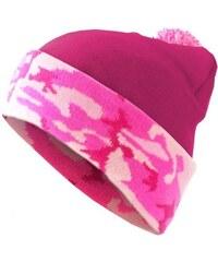 MD Beanie Pompon Camo Flap Hotpink/Pink Camo