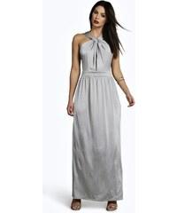 BOOHOO Stříbrné maxi šaty Harriet
