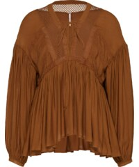 Free People Top Pebbled Chiffon Dont Let Go Peasant