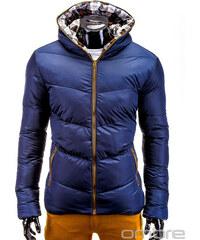 Zimní prošívaná bunda pánská Ombre C160 Tmavě modro-hnědá