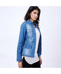 Lesara Jeansjacke mit elastischem Taillenbund - Blau - S