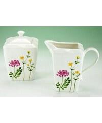 CreaTable Milch/Zucker-Set Porzellan Eva Wiesenblumen weiß