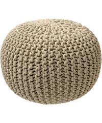 Pletený puf ZicZac pískový