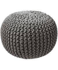 Pletený puf ZicZac šedý