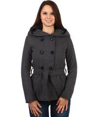 TopMode Stylový kabátek s kapucí a s jemným hadím vzorem šedá