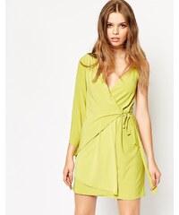 ASOS - Robe courte portefeuille asymétrique - Vert