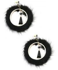 Boucles d'oreilles Noire Cercle - Cendriyon