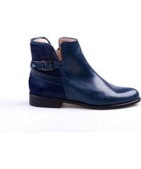 Tmavě modré kožené kotníkové dámské boty - Glami.cz 728f366ddc