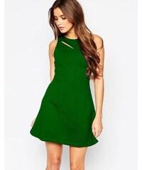 HUSH HUSH Brčálově zelené skater šaty