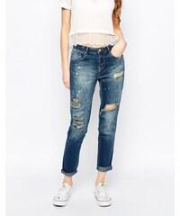 Ditto's - Alec - Enge Boyfriend-Jeans im Rip 'n' Repair-Look - Blau