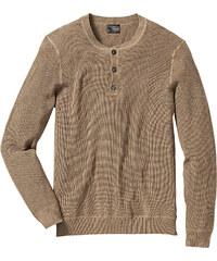 bpc selection Pullover m. Knopfleiste Regular Fit langarm in braun für Herren von bonprix