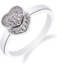 Meucci Rhodiovaný stříbrný prsten se srdíčkem