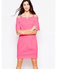 Love Moschino - Schulterfreies Kleid mit Trägern mit Schnallen - Rosa