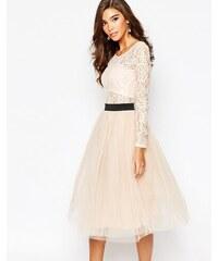 Rare London - Robe tutu en dentelle transparente avec ceinture contrastante et jupe en tulle - Rose