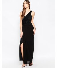 Studio 75 - Manna - Longue robe cache-cœur à empiècements - Noir