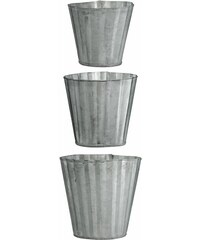 Madam Stoltz Mini zinkový obal na květiny Wavy pots - set 3 ks