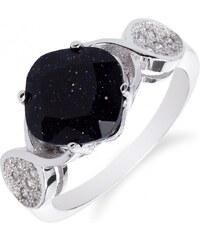 Meucci Stříbrný prsten s černým onyxem a zirkony