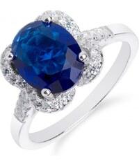 Meucci Stylový stříbrný prsten se safírem a zirkony