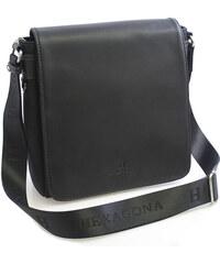 Černá kožená taška přes rameno Hexagona 299156 černá