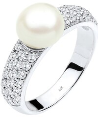 PERLU Ring mit Süßwasserzuchtperle und Zirkonia, »Ruby, 0611152813«