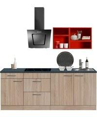 OPTIFIT Singleküche Mini mit E-Geräten Breite 210 cm rot
