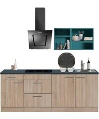 OPTIFIT Singleküche Mini mit E-Geräten Breite 210 cm blau